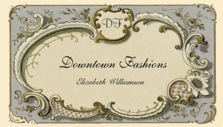 Vintage French Blue Scroll With Elegant Monogram Business Cards