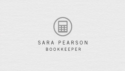 Simple White Paper Pattern Bookkeeper With Calculator Logo Business Cards