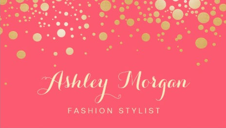 Glamour Gold Dots on Coral Pink Decor Fashion Stylist Business Cards