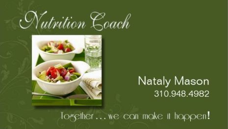 0c996a35bc9 Professional Green Nutrition Coach Healthy Eating Weight Loss Business Cards