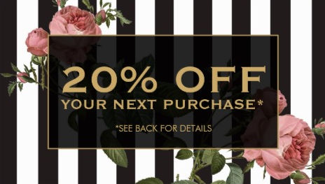 Vintage Rose Floral Striped Salon Discount Coupon Card Business Cards