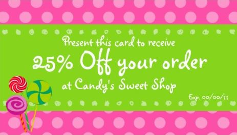 Cute Pink and Green Circles Candy Promotional Coupon Business Cards