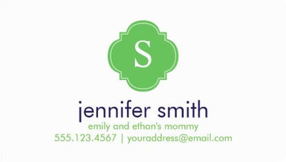 Simple Green Quatrefoil Monogram Logo Calling Cards For Mothers