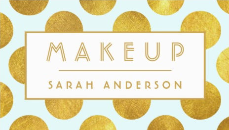 Modern Big Gold Faux Foil Dots Fun Makeup Artist Business Cards