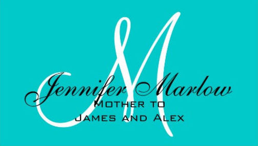 Simple Aqua Monogram Visiting Cards For Mother Business Cards