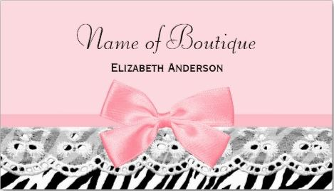 Girly Boutique Light Pink Bow and Eyelet Lace Zebra Print Business Cards