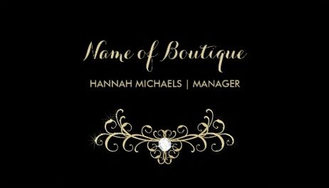 Elegant Boutique Black and Gold Glamor Diamond Sparkles Business Cards