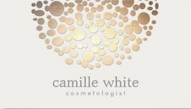 Cosmetology Faux Gold Leaf on Cream Background Circle Motif Business Cards