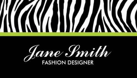 Stylish Zebra Print Modern Lime Green Stripe Classy Business Cards