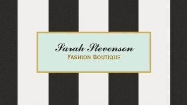 Elegant Black and White Stripes Fashion Boutique Business Cards
