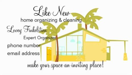 Modern New Home Organizing and Cleaning Palm Trees Business Cards