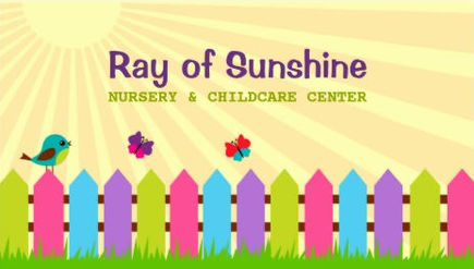 Ray of Sunshine Colorful Picket Fence Nursery and Childcare Bushiness Cards