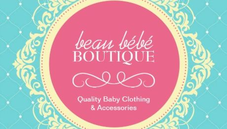 Chic Aqua and Pink Elegant Baby Boutique Business Cards