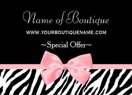 Chic Boutique Light Pink Ribbon Discount Coupon Business Cards