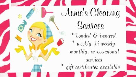 Girly cleaning services business cards page 1 girly business cards cute pink zebra print cheerful housekeeper cleaning services business cards colourmoves
