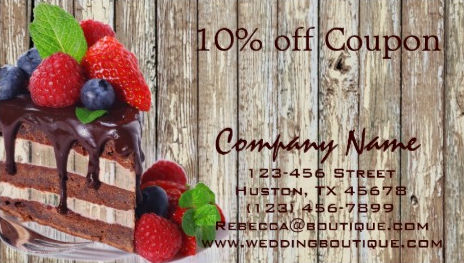 Yummy Chocolate Cake Rustic Country Coupon Bakery Business Cards