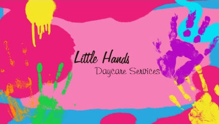 Fun Rainbow Finger Paint Hand Prints Daycare Services Business Cards