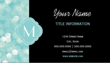 Aqua Bokeh Lights Glitter Sparkles With Monogram Business Cards
