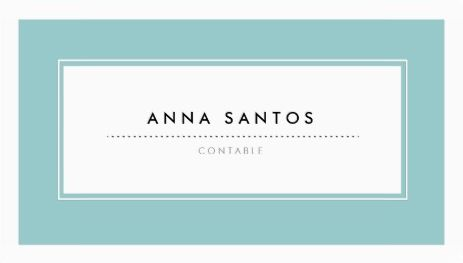 Simple Aqua Blue Border on White Template Business Cards