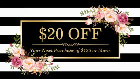 Discount Coupon Classy Gold Floral Stripes Beauty Salon Business Cards
