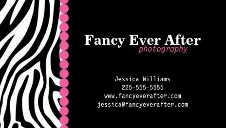 Fancy Zebra Print With Pink Accents Business Cards