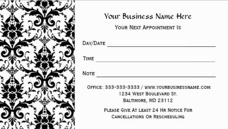 Elegant Black and White Damask Pattern Salon Appointment Business Cards