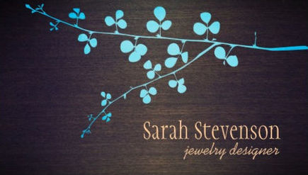 Turquoise Branch on Wood Grain Stylish Jewelry Designer Business Cards
