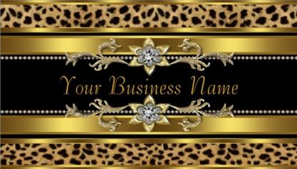 Glamorous Gold and Black Cheetah Print Diamond Bling Business Cards
