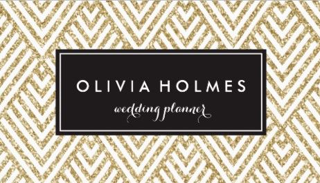 Gold Glitter Chevron Pattern Wedding Planner Business Cards