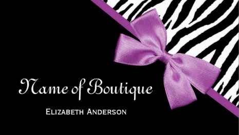 Chic Boutique Black and White Zebra Print Light Purple Ribbon Business Cards