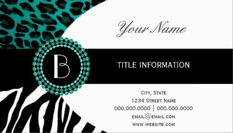 Stylish Teal Animal Prints Zebra and Leopard Patterns Business Cards