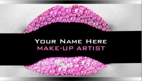 Glitzy Hot Pink Diamond Bling Modern Makeup Artist Business Cards