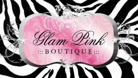 Glamorous Pink Boutique Luxury Diamond Bling Zebra Print Business Cards