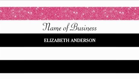 Modern Black and White Horizontal Stripes Pink Glitter Glitz Business Cards