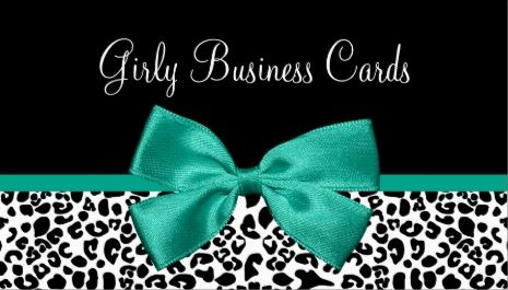 Girly Black and White Leopard Print Chic Emerald Green Ribbon Business Cards