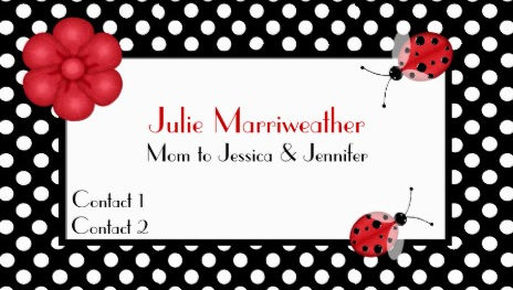 Stylish Red and Black Polka Dots and Cute Ladybugs Mommy Calling Cards