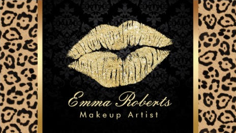 Gold Kiss Brown Leopard Print Damask Makeup Artist Business Cards