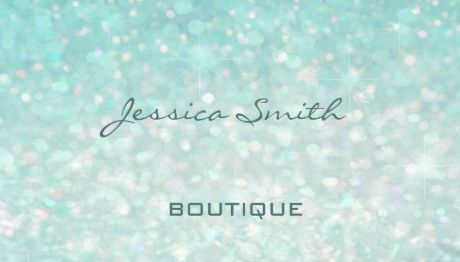 Professional Aqua Mint Bokeh Glamorous Boutique Business Cards