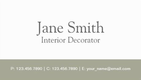 Simple Elegant Professional Interior Design And Decorator Business Cards