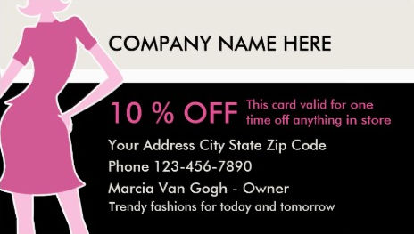 Chic Pink and Black Fashion Woman in Dress Discount Card Business Cards