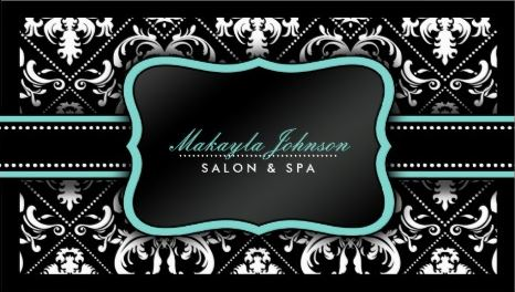 Elegant Aqua Black and White Damask Salon and Spa Template Business Cards