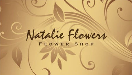 Elegant Soft Golden Hue Floral Swirl Pattern Flower Shop Business Cards