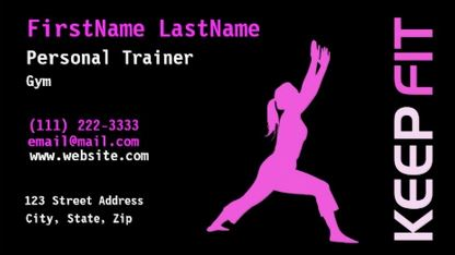 Girly fitness and exercise business cards girly business cards pink and black stretching girl silhouette personal trainer business cards colourmoves