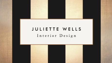 Elegant Gold And Black Vertical Striped Interior Designer Business Cards