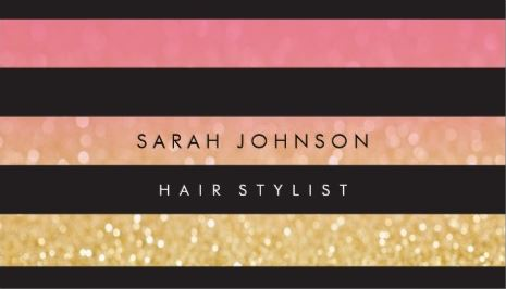 Black and Gold Stripes Pink Glamor Hair Stylist Appointment Business Cards