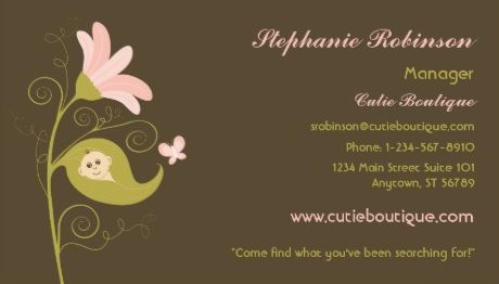 Cute Brown and Pink Flower Child Baby Boutique Business Cards