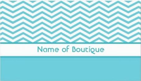 Fashion Boutique Fresh Aqua and White Chevrons Business Cards