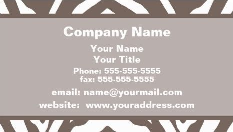Modern Taupe Brown and White Zebra Print Appointment Reminder Business Cards