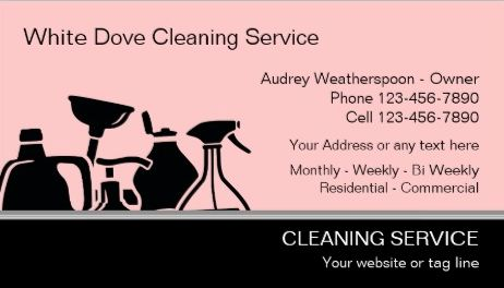 Modern Pink And Black Cleaning Supplies Silhouette Service Business Cards