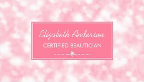 Beautician Elegant Light Pink Glitter Bokeh Beauty Salon Business Cards